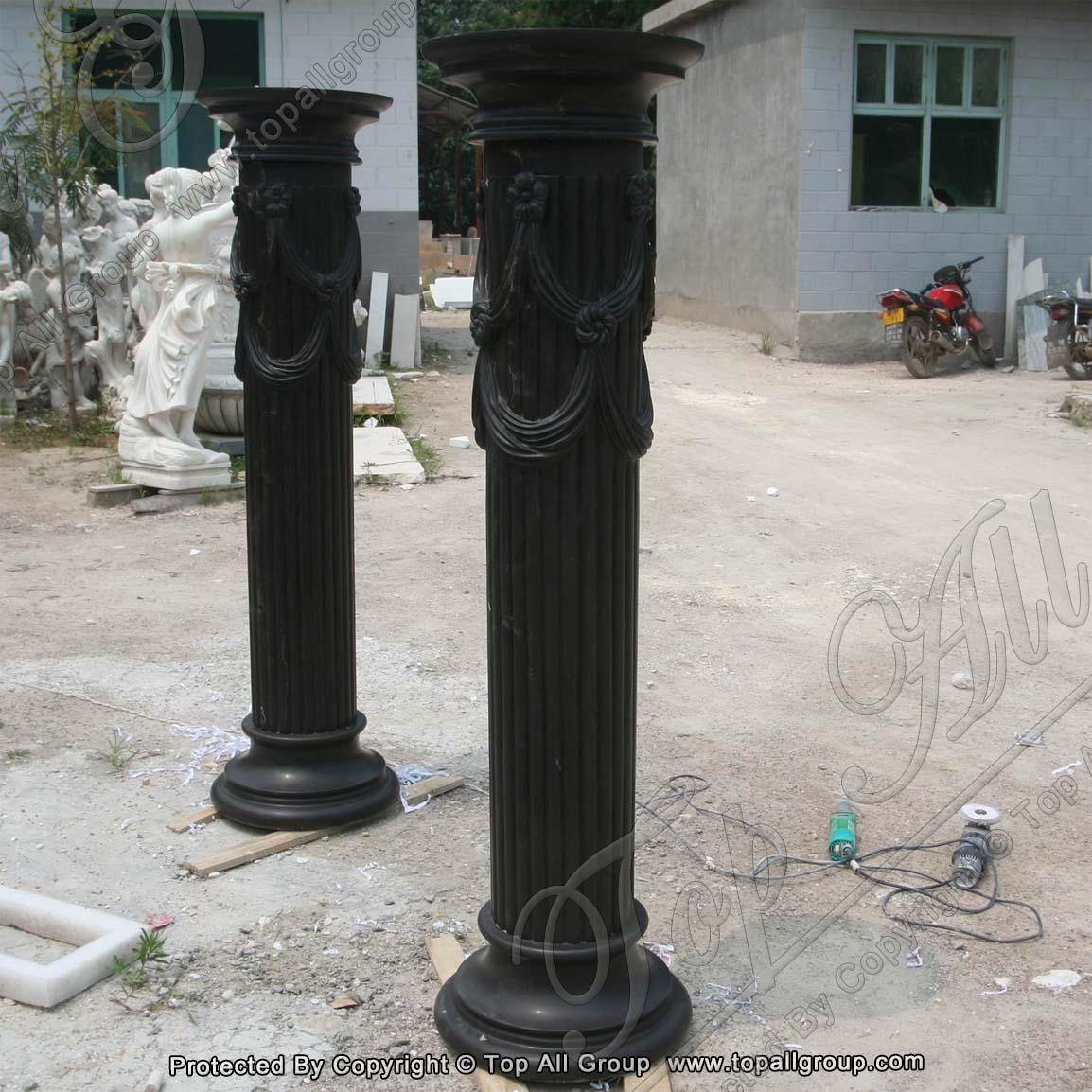 Nature black marble roman column