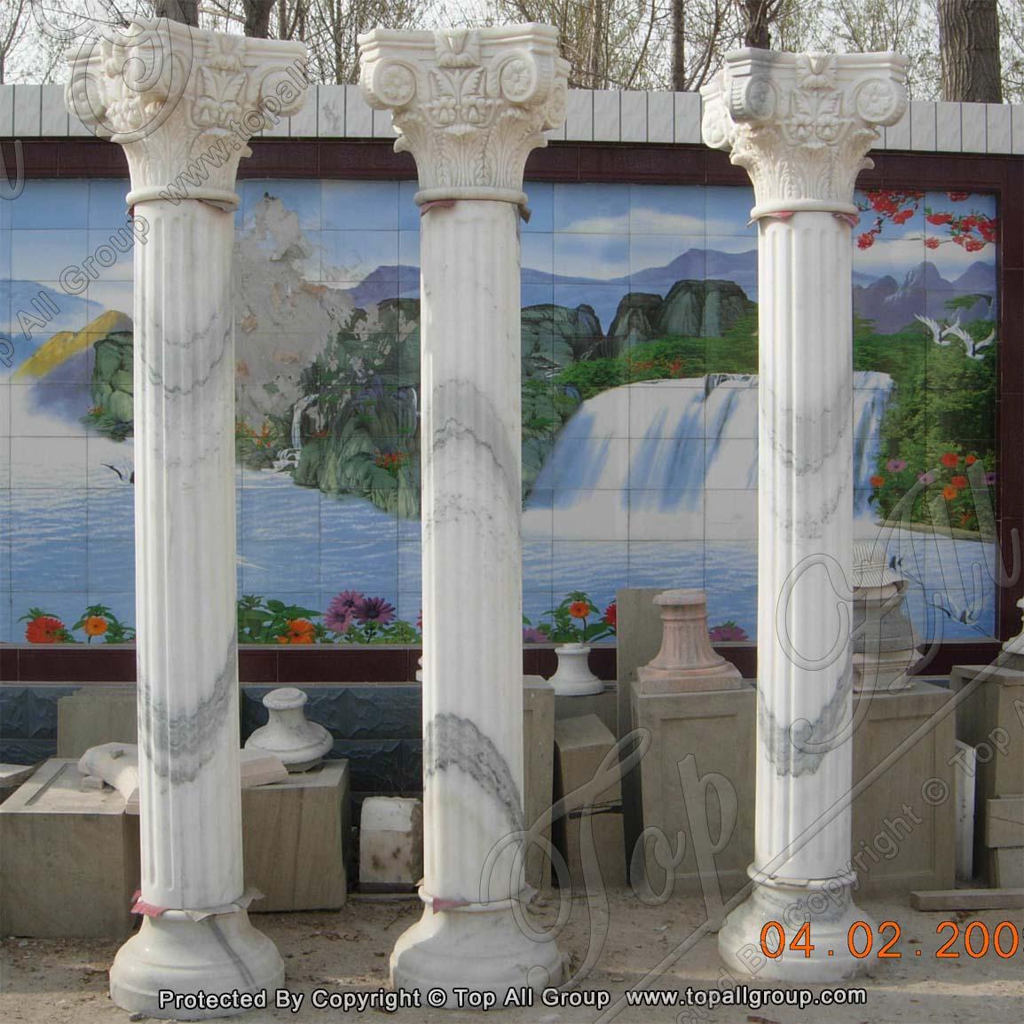 Nature white marble column