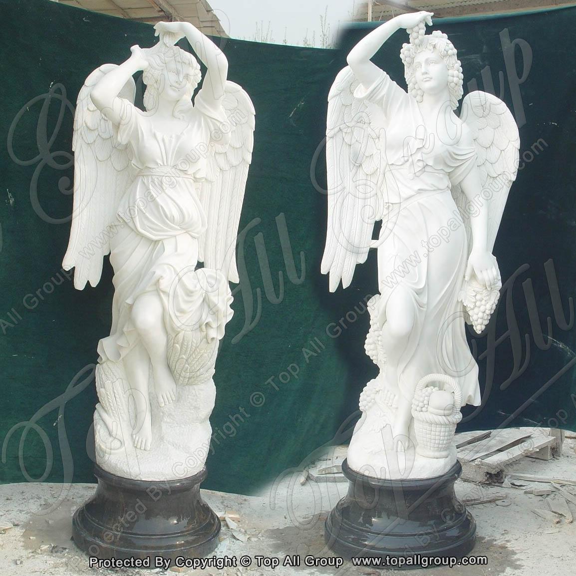 Nature white marble four season angel statue