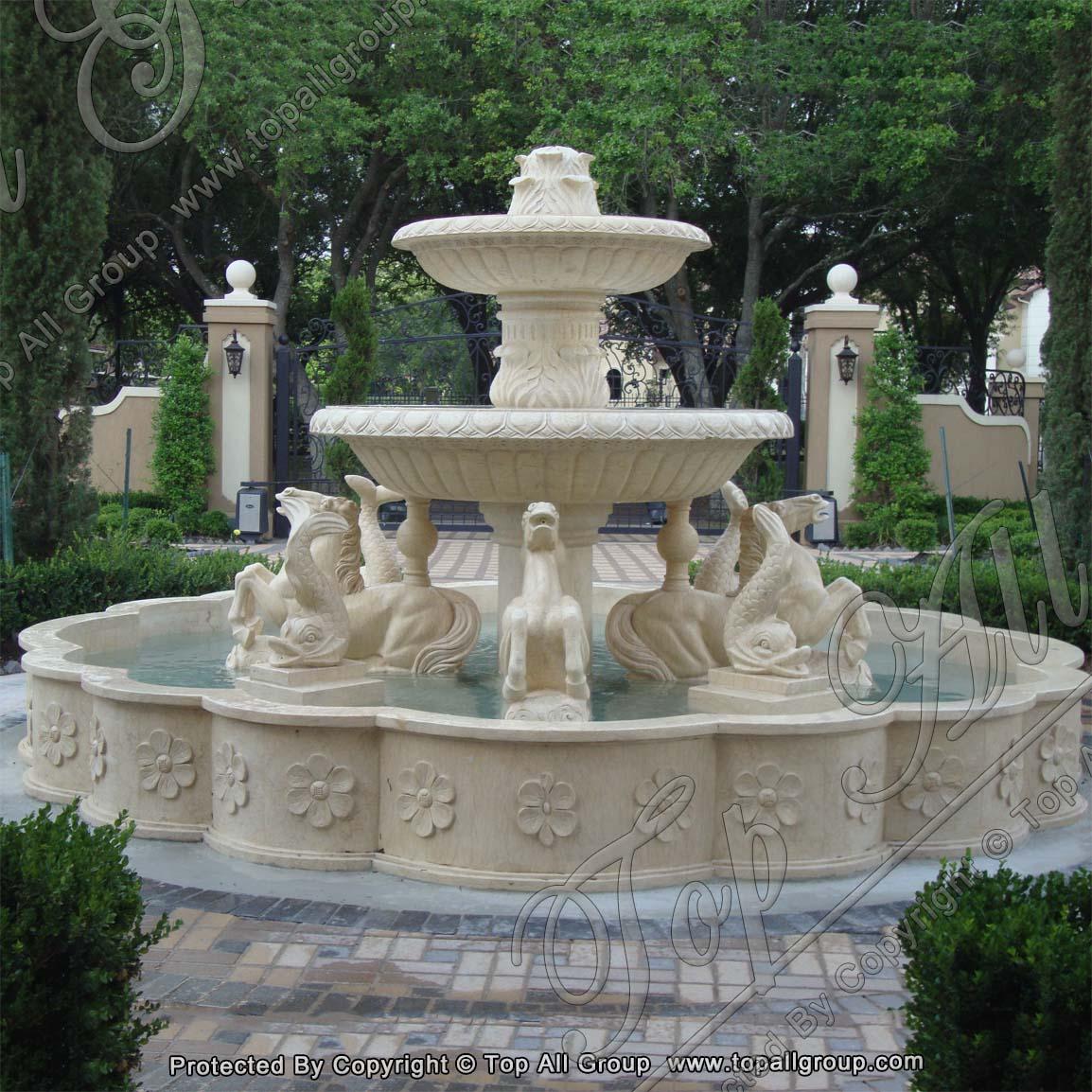 New Beige Yellow Marble Garden Fountain