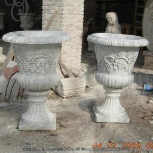 Outdoor Garden Marble Planters White Round TAFV-033