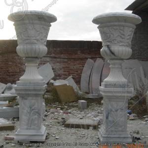 Outdoor garden hand made marble artificial cylindrical flowerpot TAFV-026