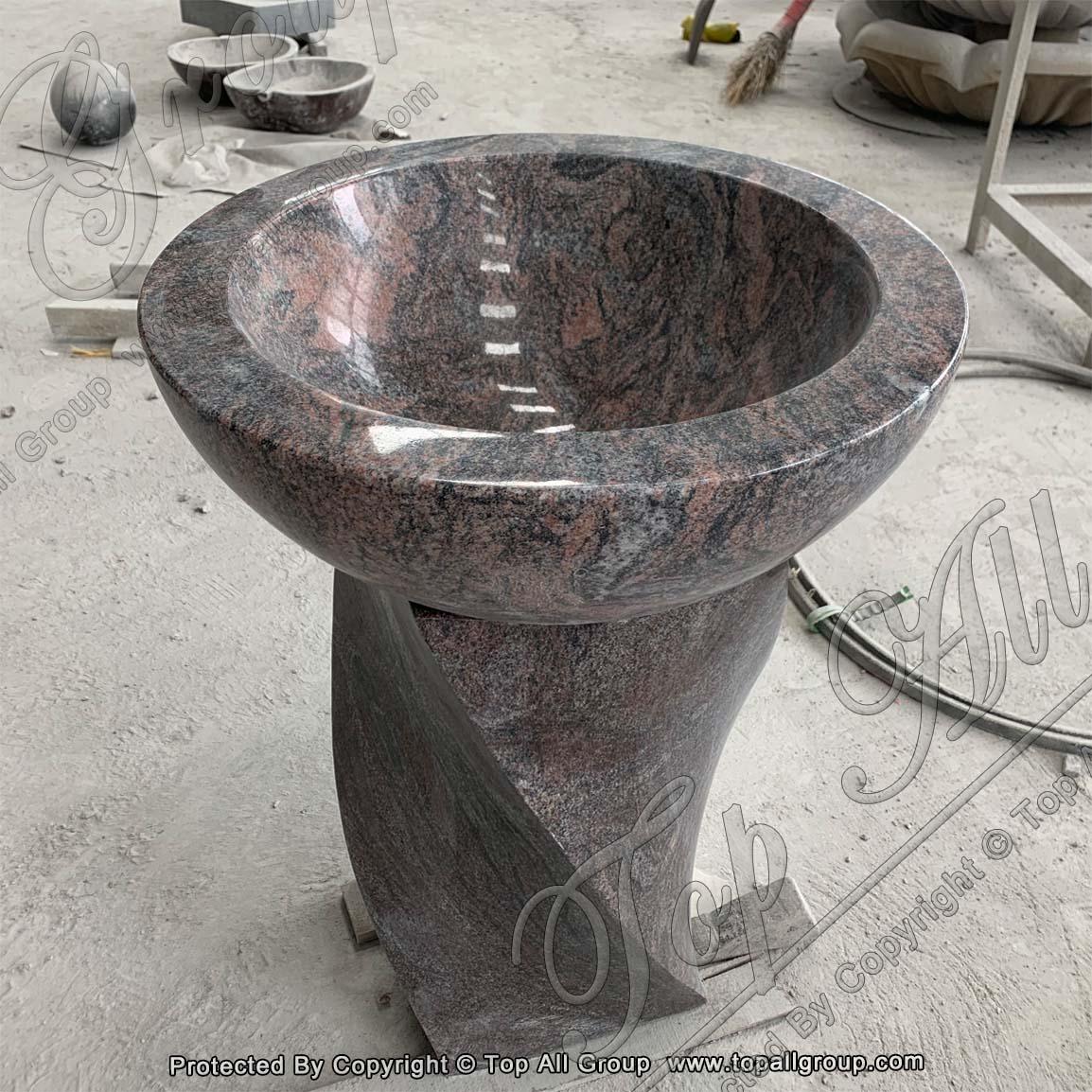 Pedestal Granite Stone Sink For Bathroom