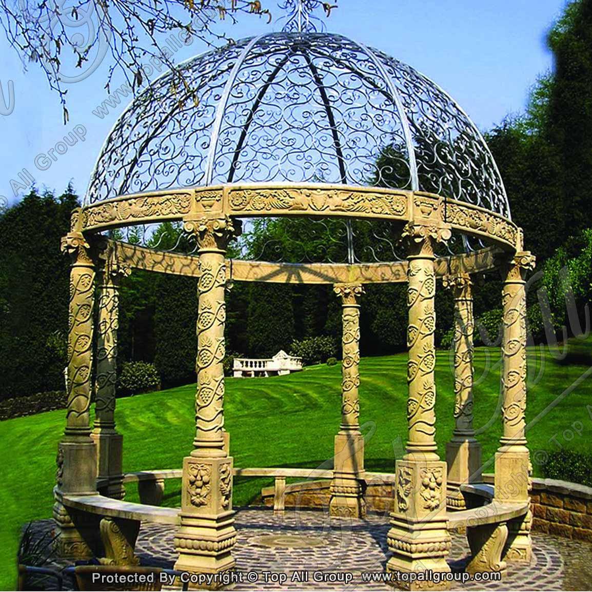 Prefab houses garden beige marble gazebo
