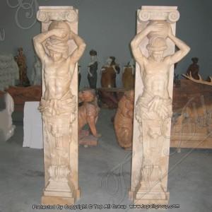 Red marble column for garden TAMC-028
