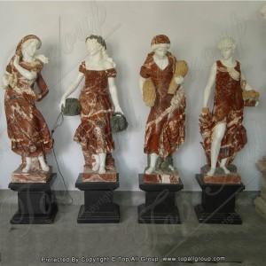 Bottom price Greek Bust Sculpture - Red marble garden sculpture four season TPFSS-009 – Top All Group