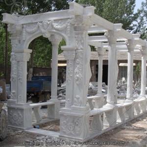 Roman Statue Natural Stone Garden White Marble Pavilion Gazebo TAGG-043