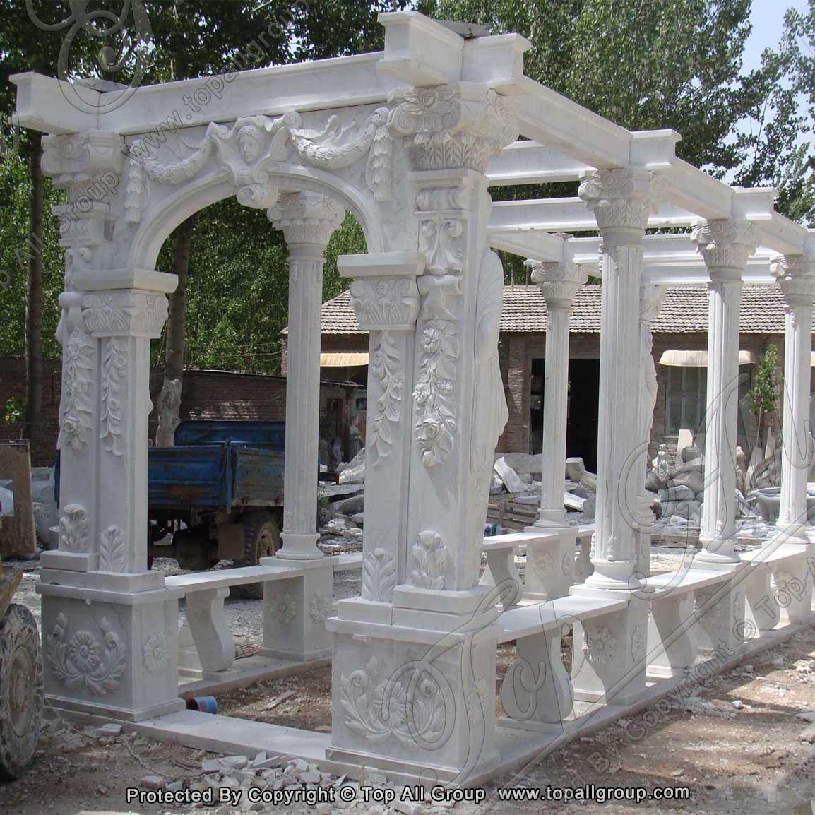 Roman Statue Natural Stone Garden White Marble Pavilion Gazebo