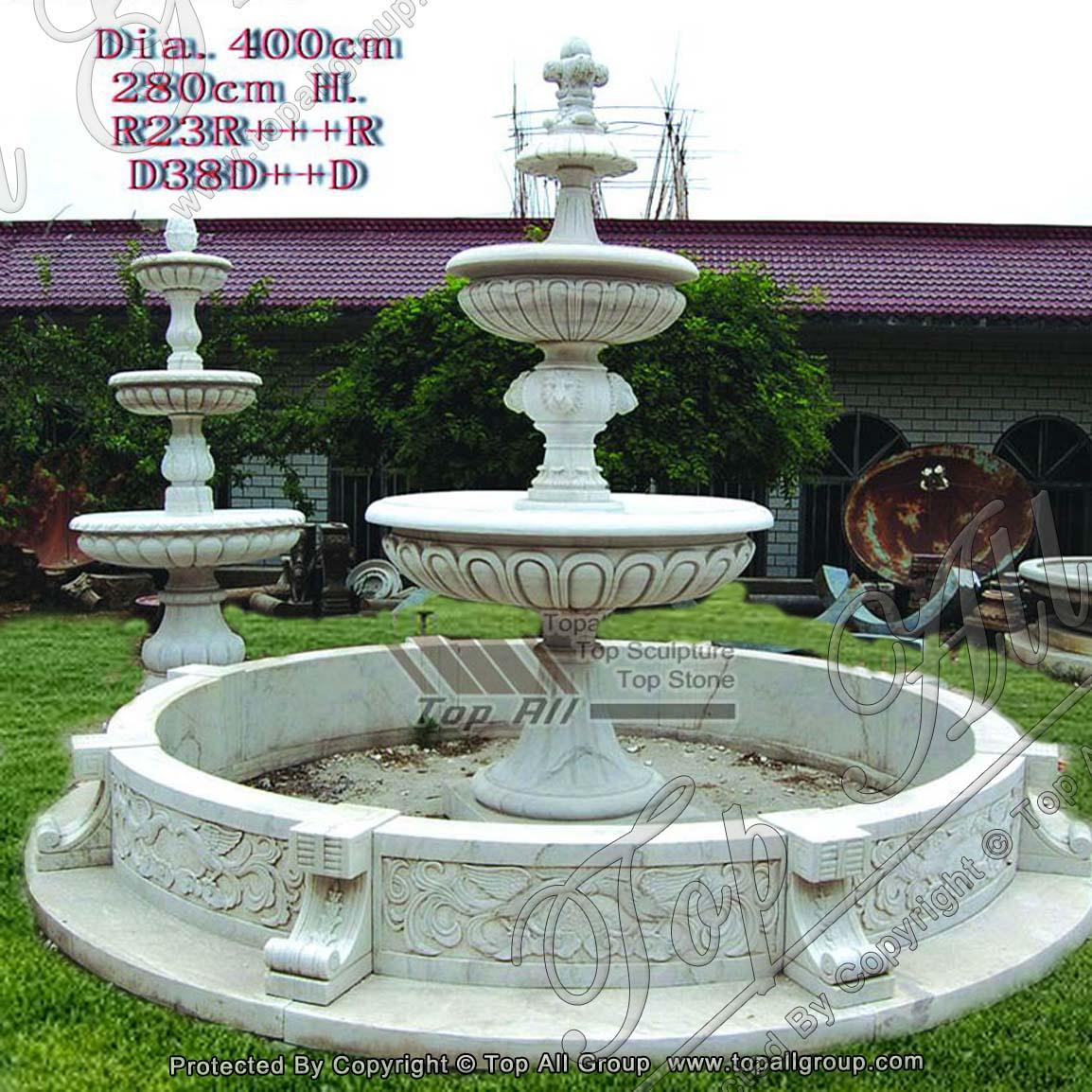Round Style White Marble Fountain