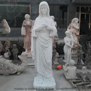 Sacred Heart Marble Mary Statue TARS030