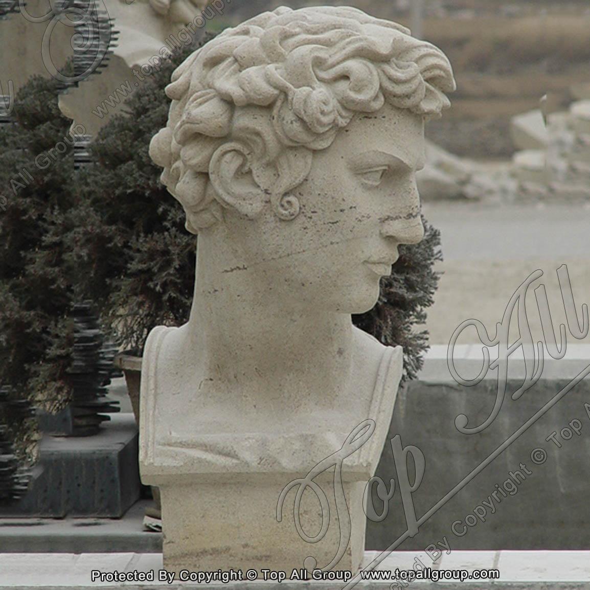 Sandstone David Bust Statue Head Sculpture