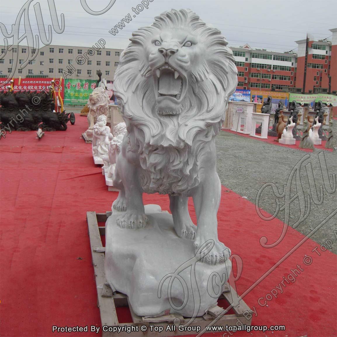 Stone Animal White Marble Lion Sculpture
