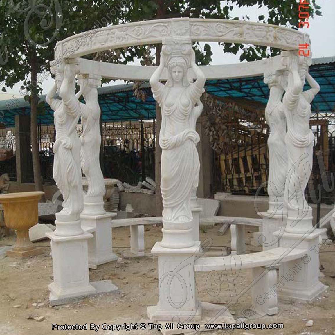 Stone gazebo with women statue