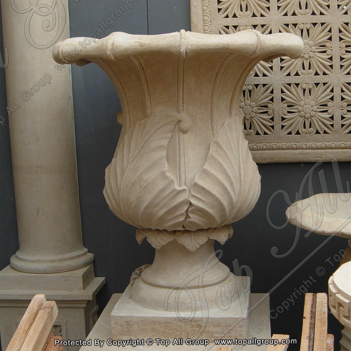Stone yellow marble flower pot