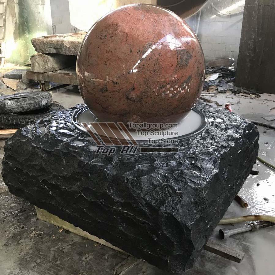 Red Granite ball fountain
