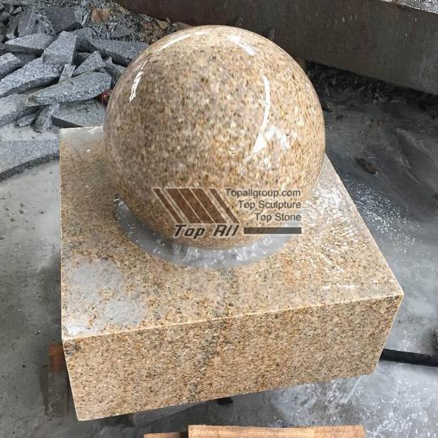 Yellow Granite Stone Ball Fountain