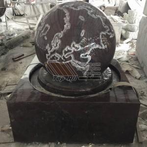 Nature Granite Stone Ball Foutain with world map TASBF-014