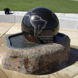 Black Granite Ball With Nature Rock Base Stone Ball Fountain  TASBF-025