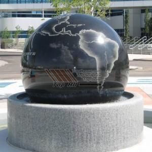 China Factory Black Granite Ball Gray Base Stone Ball Fountain TASBF-029