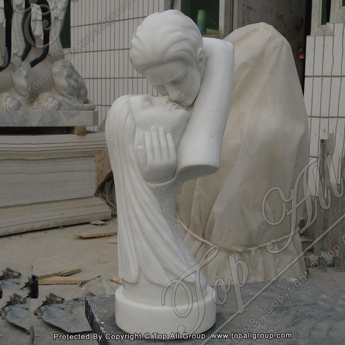True Love white marble head statue