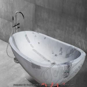 White Grey Marble Free Standing Bathtub TABT-031