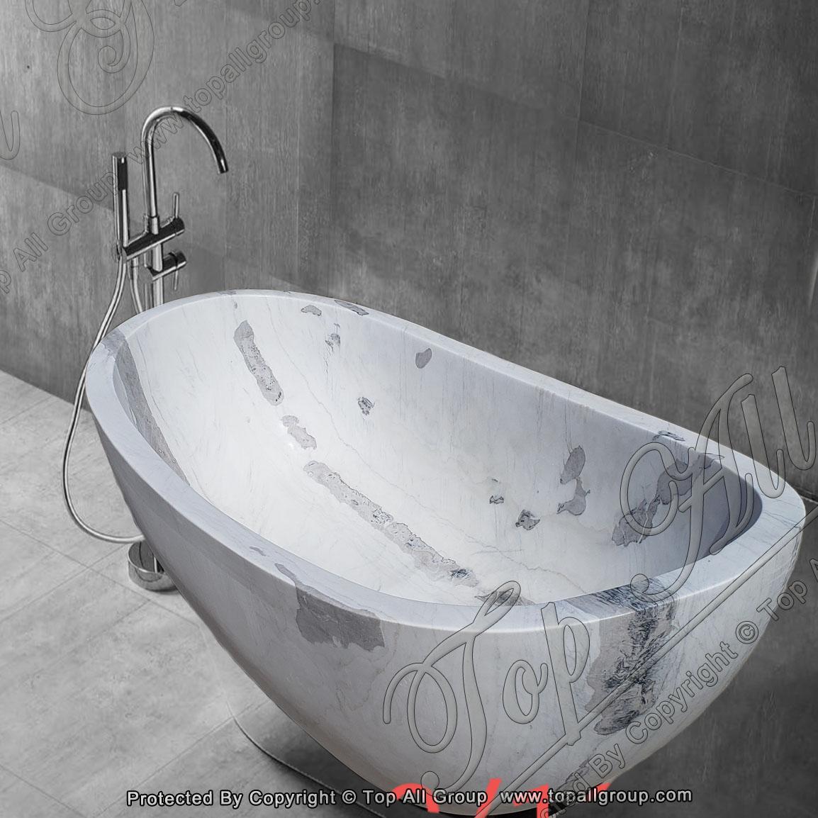 White Grey Marble Free Standing Bathtub