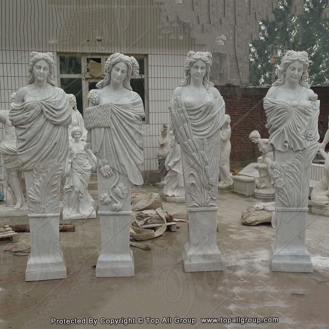 White Marble Four Season Garden Sculpture