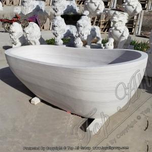 White Marble Free Standing Bathtub TABT-029