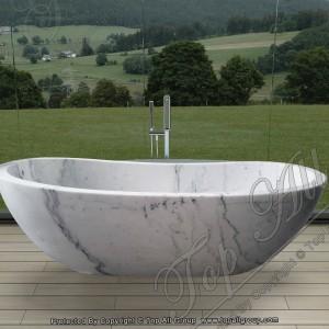 White Marble Free Standing Bathtub TABT-034