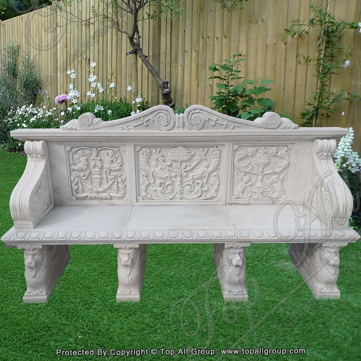 White Marble Garden Bench