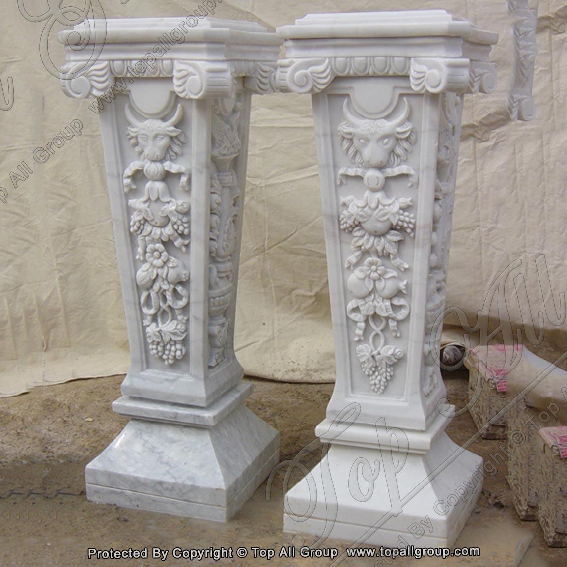 White Marble Sculpture Base Column