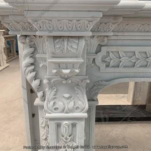 White marble flower fireplace mantel  TAFM-008