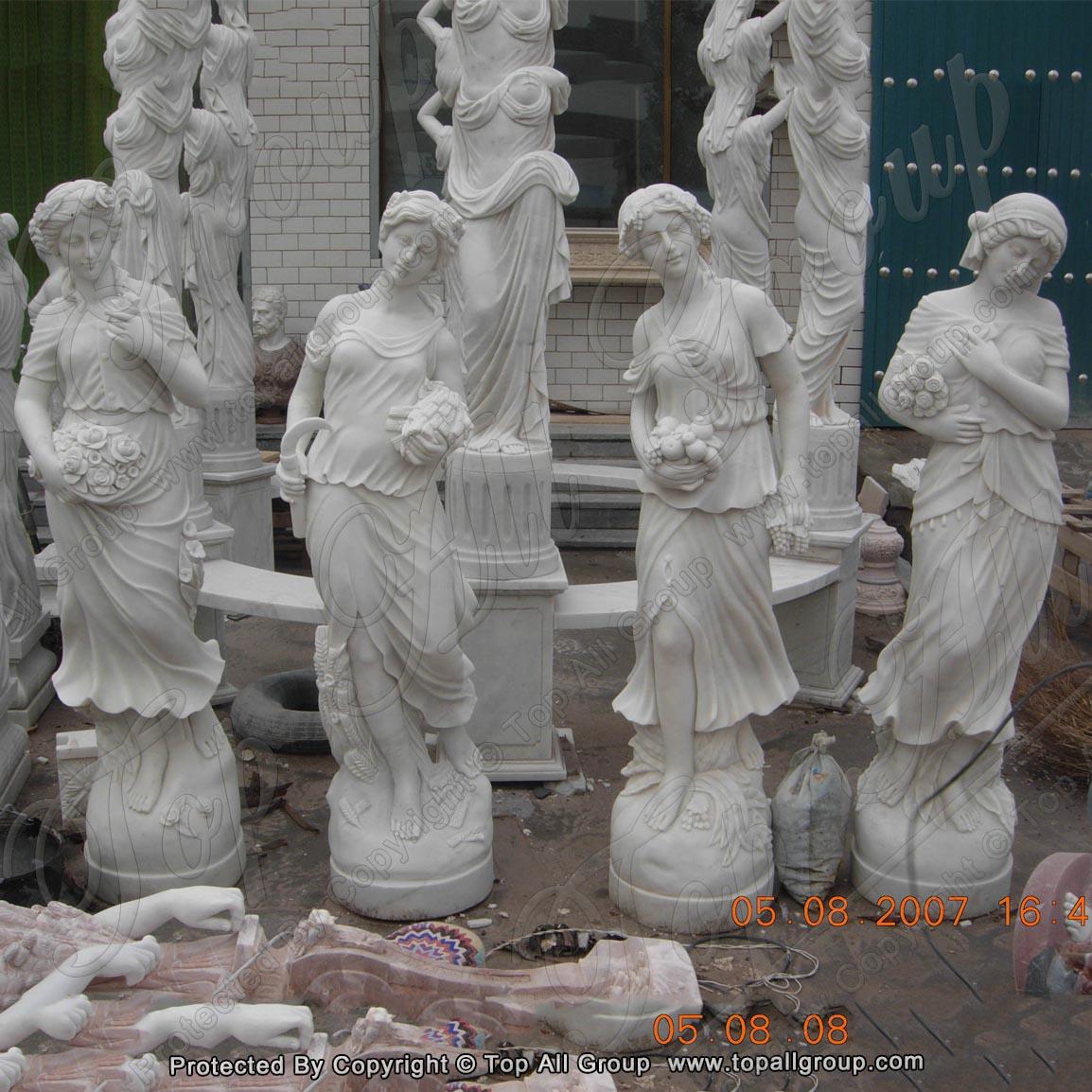 White marble life size four season marble sculpture