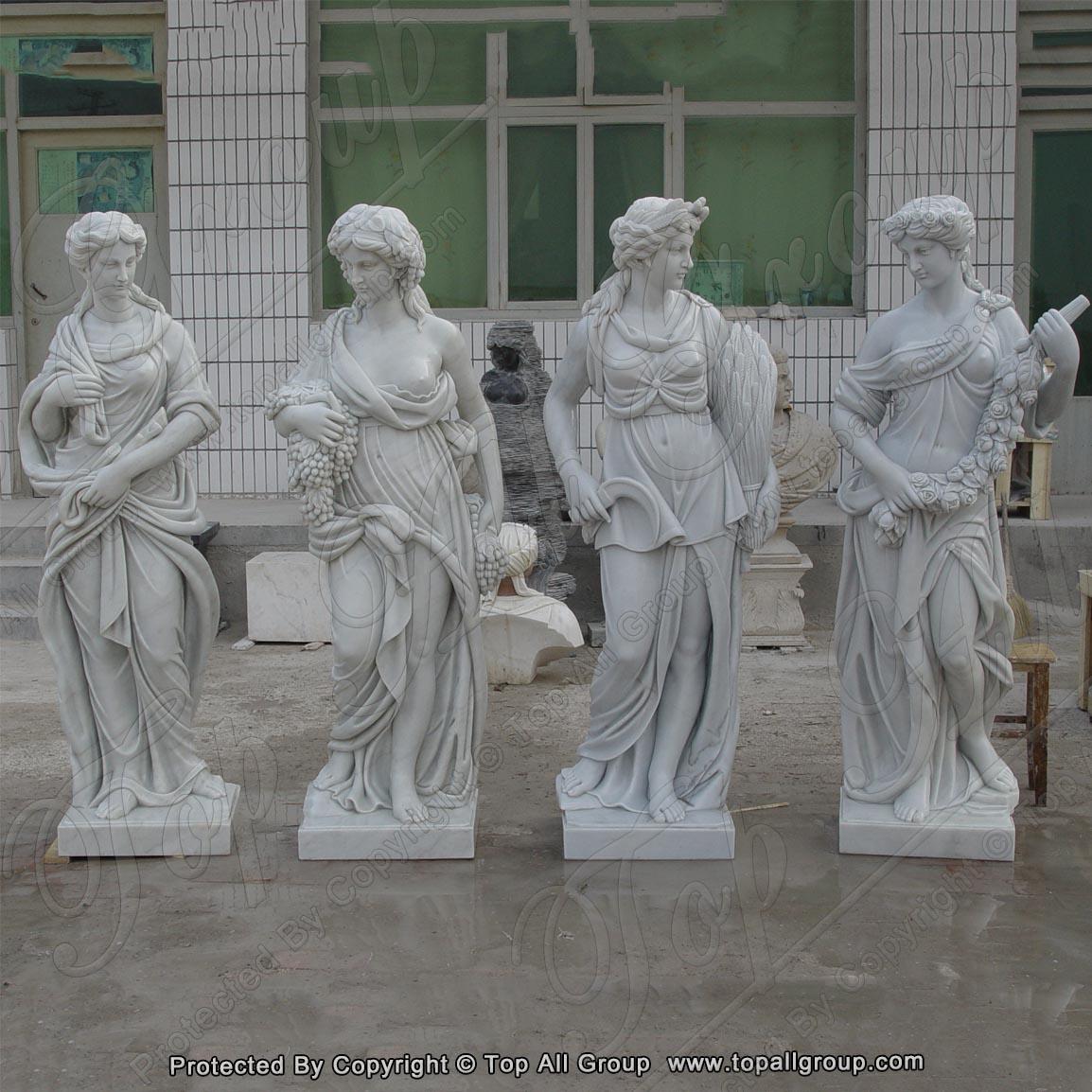 White marble life size four season statue