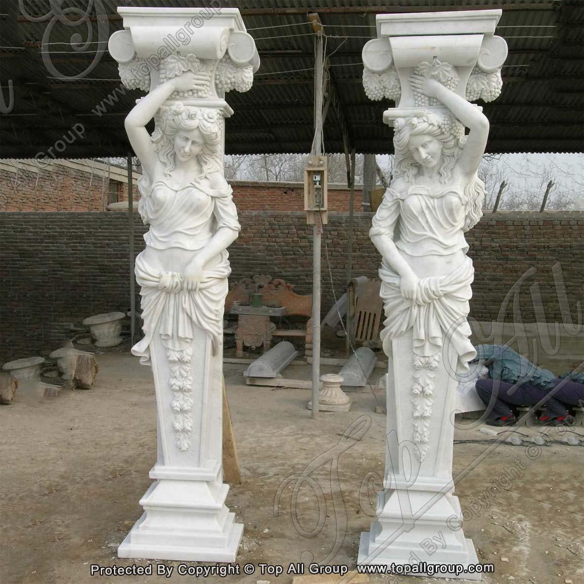 White marble life size women column