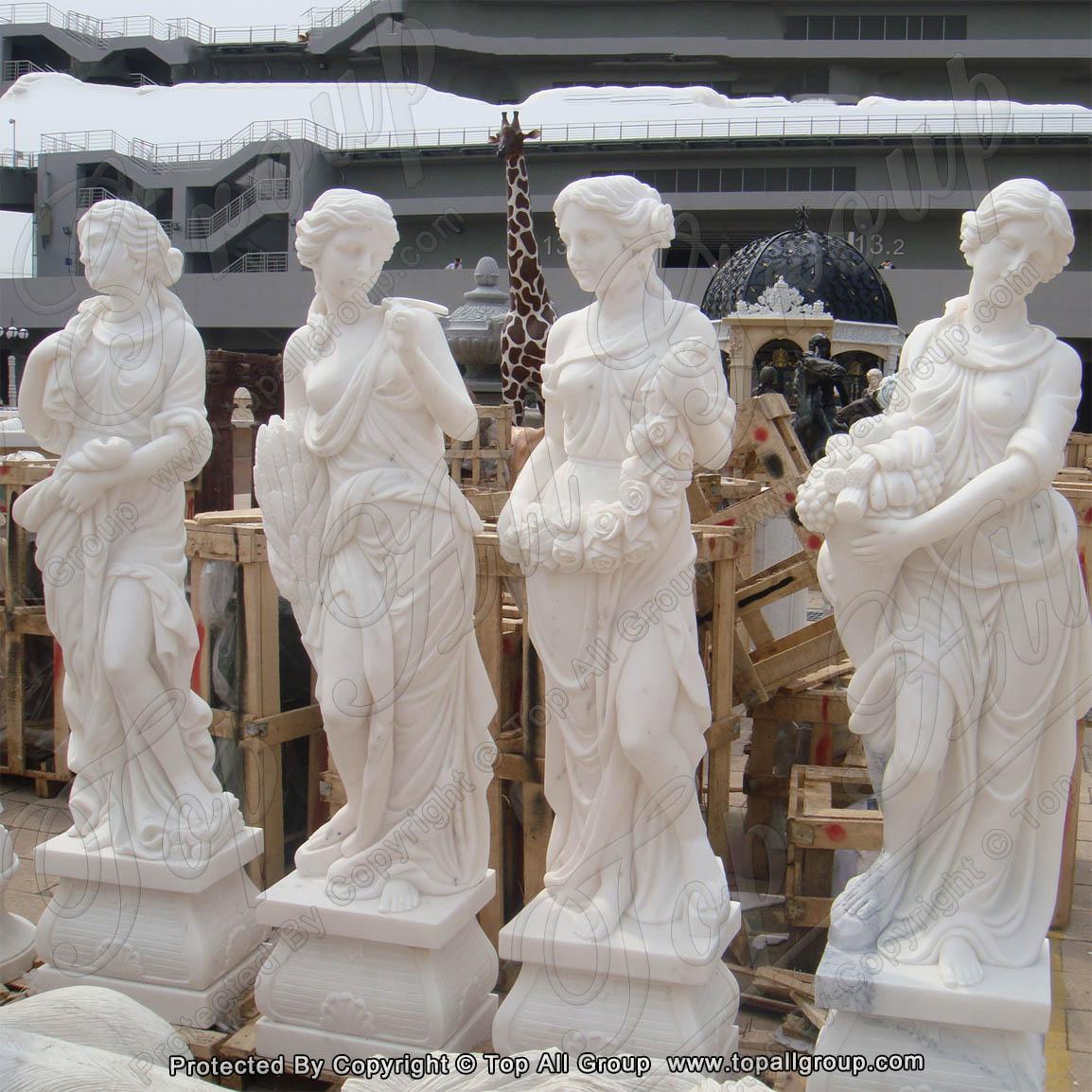 White marble women four season sculpture for garden