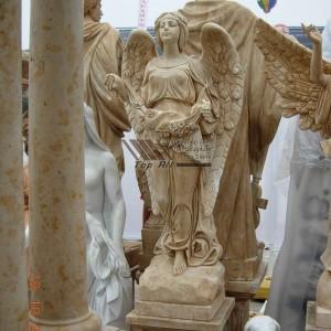 Yellow Marble Angel Sculpture TSAS-012