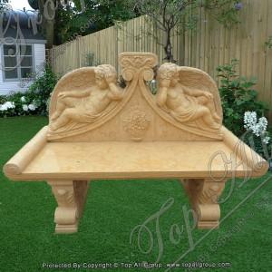 Yellow Marble Carved Cherub Bench TAMB-046