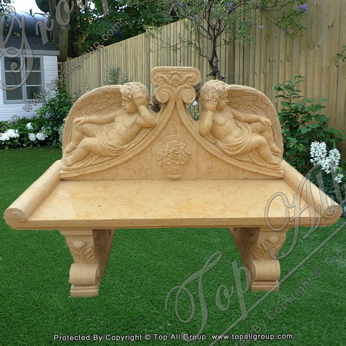 Yellow Marble Carved Cherub Bench