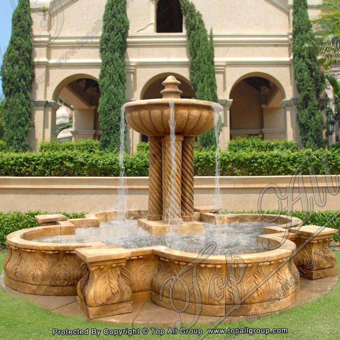 Yellow Marble Garden Water Fountain
