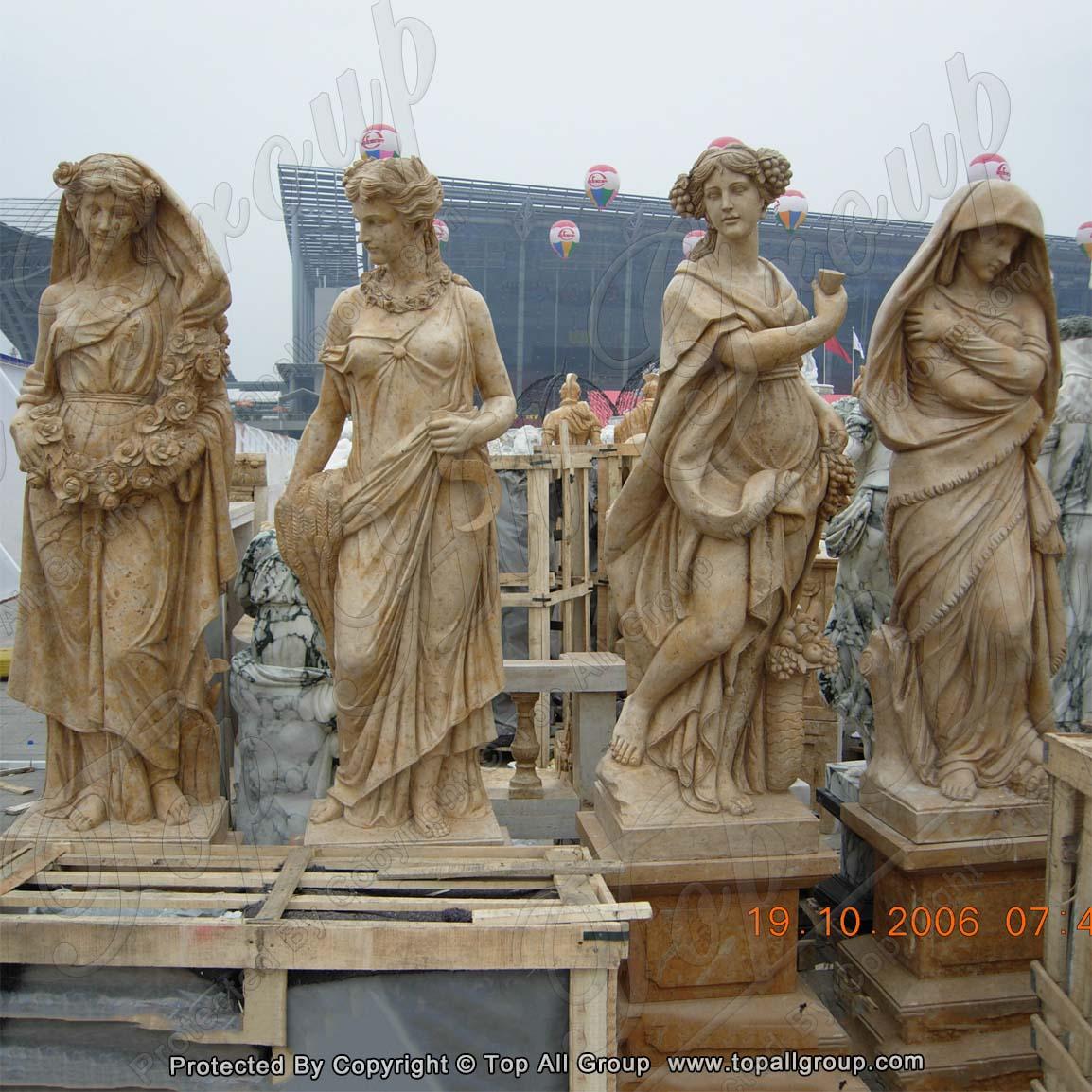 Yellow Travertine life size four season marble sculpture