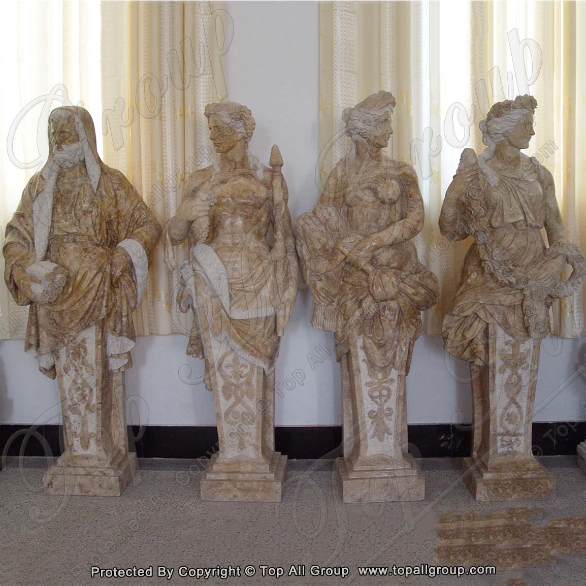 Yellow Travertine life size four season marble statue