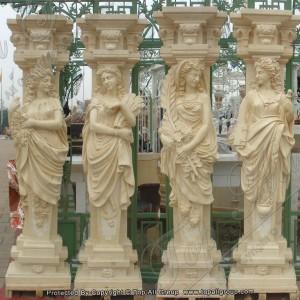 Yellow marble four season column TAMC-012