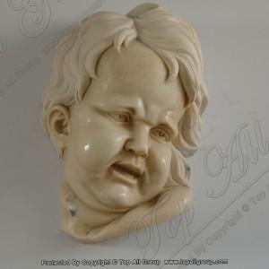 Yellow marble children head statue TABS-022