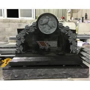 Black granite flower headstone tombstone monument tatbs-020