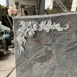 Red granite flower headstone TATBS-014