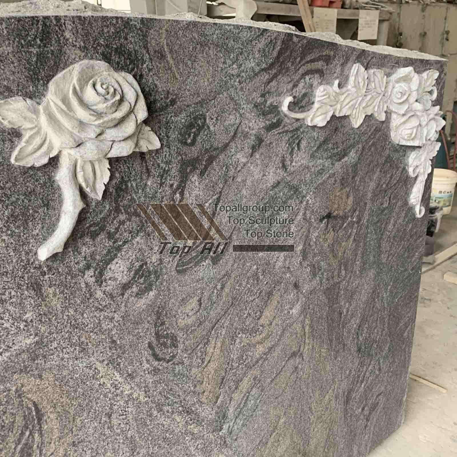 Red granite flower headstone TATBS-014 detail pictures