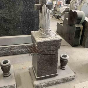 Granite cross with hand headstone TATBS-016